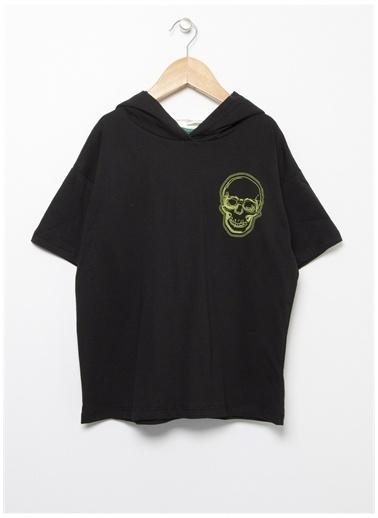Funky Rocks Funky Rocks Kapüşon Yaka Siyah T-Shirt Siyah